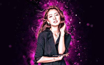 Park Shin-hye, 4k, purple neon lights, south korean actress, beauty, south korean celebrity, Park Shin-hye 4K