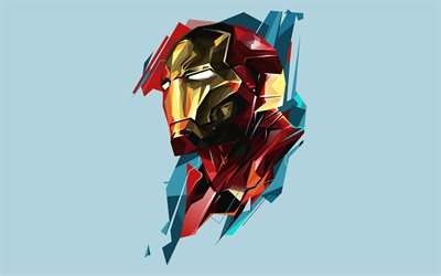 IronMan, 4k, minimal, super-héros, Marvel Comics, art low poly, minimalisme IronMan, IronMan 4K, abstrait Iron Man