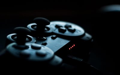 Sony Playstation Joystick, bokeh, modern devices, blackness, game console, Playstation, joystick