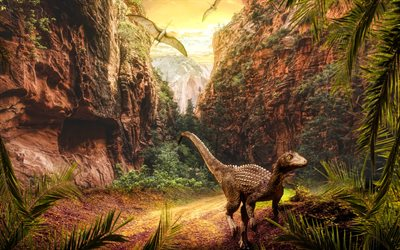 dinosaurs, 3D art, valley, wildlife, monsters, cliffs, rocks, angry dinosaur