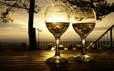 glasses with wine, white wine, sunset, evening, wine, coast, wine concepts
