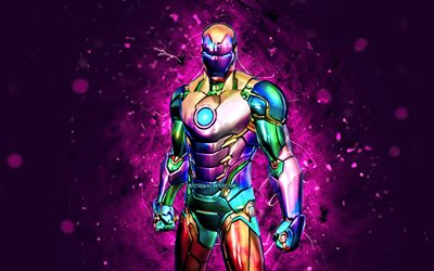 Holo Foil Iron Man, 4k, purple neon lights, 2021 games, Fortnite Battle Royale, Fortnite characters, Holo Foil Iron Man Skin, Fortnite, Holo Foil Iron Man Fortnite
