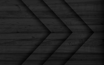 black arrows, black wooden background, arrows patterns, background with arrows, right arrows, black backgrounds