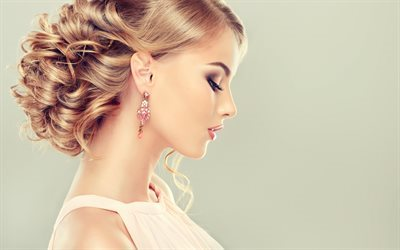 Beautiful girl, blonde, make-up for blondes, beautiful hairstyle