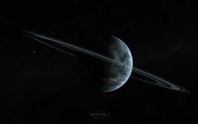 Iridium-5, planets, rings, galaxy, stars
