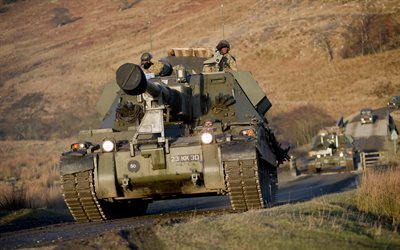 AS-90, British self-propelled artillery, howitzer, Gun Equipment 155 mm L131, United Kingdom, modern armored vehicles, artillery