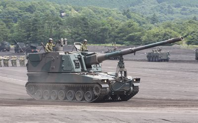 Type 99, Japanese howitzer, 4k, Japan, 155mm self-propelled howitzer, Japanese Army, modern armored vehicles