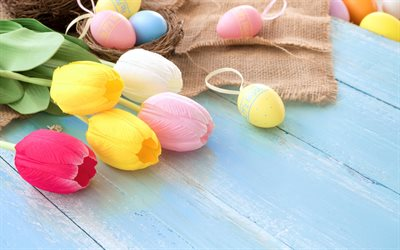 Easter, colorful tulips, Easter eggs, spring flowers, Happy Easter