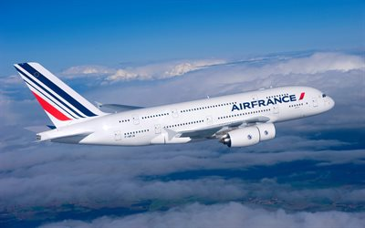 Airbus А380, Air France, largest passenger airliner, twin-aisle aircraft, wide-body aircraft, air travel, airplane in the sky, Airbus