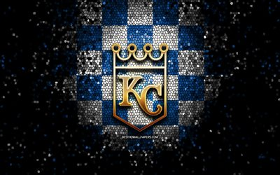kansas city royals, glitter, logo, mlb, blau, weiß karierten hintergrund, usa, american baseball team, kansas city royals logo, mosaik-kunst, baseball, amerika, kc royals