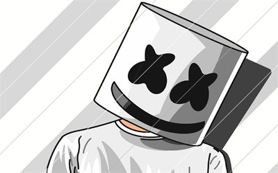 DJ Marshmello, comic art, poster, music stars, Christopher Comstock, american DJ, fan art, creative, superstars, Marshmello, DJs