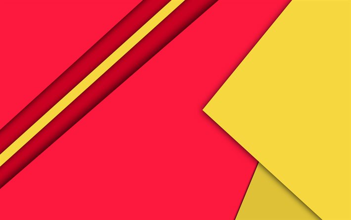 material design, red and yellow, geometric shapes, lines, lollipop, geometry, creative, strips, red backgrounds, abstract art
