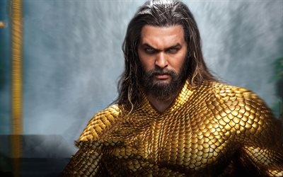 Aquaman, Jason Momoa, superhero, golden costume, movie heroes, poster, promotional materials