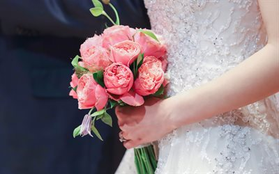wedding bouquet, bride, wedding concepts, pink wedding bouquet, beautiful flowers