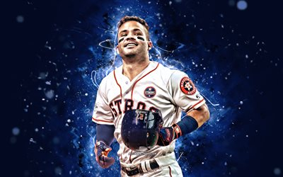 João Altuve, 4k, MLB, Houston Astros, base, beisebol, Jose Carlos Altuve, Major League Baseball, luzes de neon, Jose Altuve Houston Astros, Jose Altuve 4K