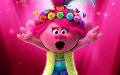 Poppy, 4k, 3D-animation, 2020 movie, Trolls World Tour, artwork, Trolls characters, Poppy Trolls, funny characters, Trolls