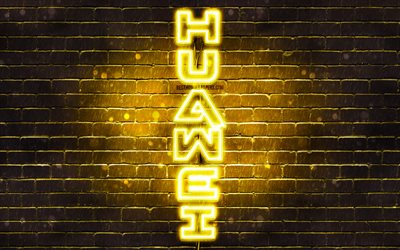 4K, Huawei yellow logo, vertical text, yellow brickwall, Huawei neon logo, creative, Huawei logo, artwork, Huawei