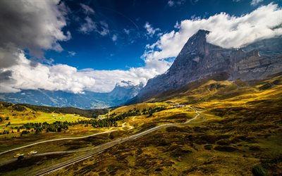 Grindelwald, 4k, summer, mountains, beautiful nature, Alps, Switzerland, Europe, HDR