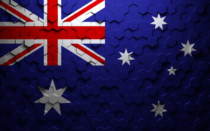 Flag of Australia, honeycomb art, Australia hexagons flag, Australia, 3d hexagons art, Australia flag