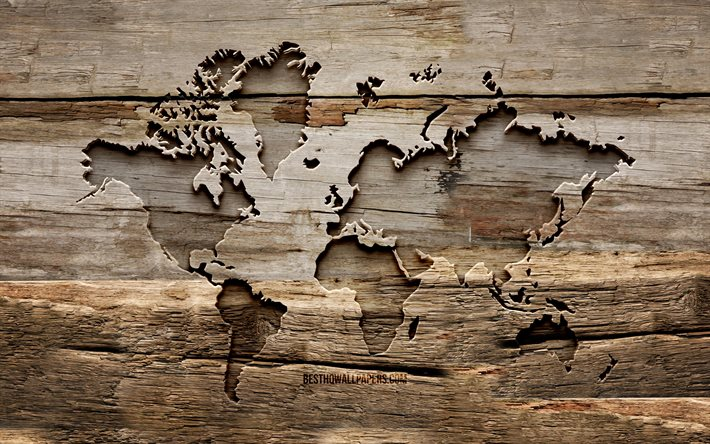 Wooden World Map, 4K, wooden backgrounds, globes, World Map, creative, wood carving, World Map concept