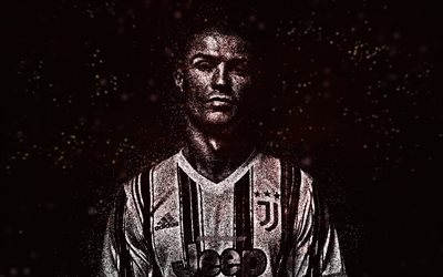 Cristiano Ronaldo, Juventus FC, white glitter art, Portuguese footballer, CR7, black background, creative art, football