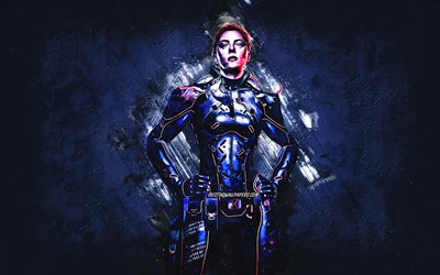 Black Widow, superhero, character, Scarlett Johansson, blue stone background, grunge art, Marvel Comics characters, Black Widow character
