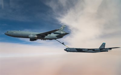 McDonnell Douglas KC-10 Extender, American tanker aircraft, Boeing B-52 Stratofortress, american strategic bomber, United States Air Force, B-52, refueling in the air, American military aircraft