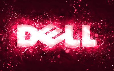 Dell pink logo, 4k, pink neon lights, creative, pink abstract background, Dell logo, brands, Dell