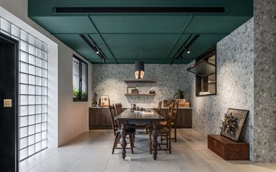 kitchen, loft style, modern interior design, ideas for the kitchen, gray stone wall in the kitchen, stylish interior design, green ceiling in the kitchen