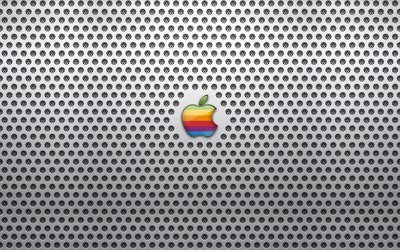 Apple, metal grid, logo, creative