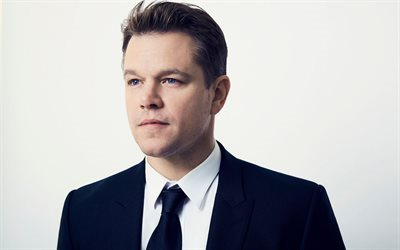 Matt Damon, American actor, portrait, man in suit