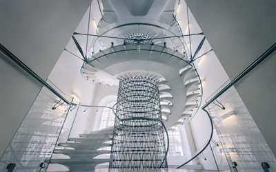 Spiral staircase, Somerset House, white staircase, London, England, Classicism, Museum