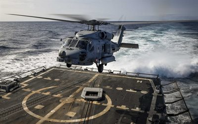 Sikorsky MH-60R Sea Hawk, landing on a warship, US Navy, military helicopters, sea, USA, Sikorsky