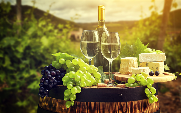 4k, wine, grapes, cheese, barrel, summer