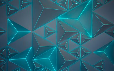 geometric abstraction, triangles, blue neon illumination, geometric shapes, pattern
