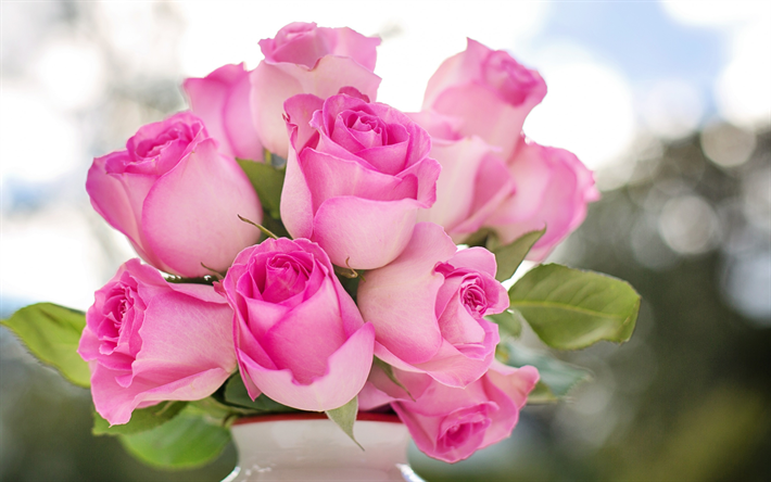 Download wallpapers pink roses white vase beautiful pink flowers pink roses white vase beautiful pink flowers roses buds of roses mightylinksfo