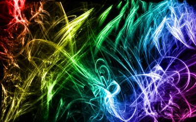 neon lights, chaos, abstract art, creative, colorful lights