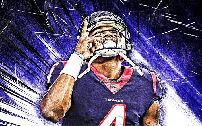 Download Wallpapers 4k Deshaun Watson Close Up Houston Texans Nfl National Football League Blue Abstract Rays Derrick Deshaun Watson Joy Deshaun Watson Houston Texans Deshaun Watson 4k For Desktop Free Pictures For Desktop