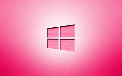 4k, Windows 10 pink logo, creative, pink backgrounds, minimalism, operating systems, Windows 10 logo, artwork, Windows 10