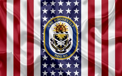 USS Roosevelt Emblem, DDG-80, American Flag, US Navy, USA, USS Roosevelt Badge, US warship, Emblem of the USS Roosevelt