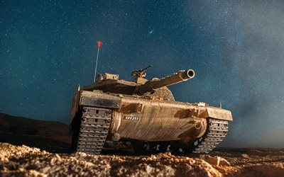Merkava, starry sky, Israeli MBT, modern armored vehicles, night, Merkava-4, Israeli Army, Israel Defense Forces, Israel, tanks, Israeli main battle tank, tank shot moment