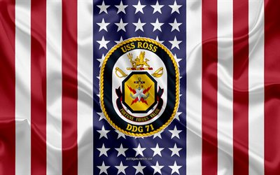 USS Ross Emblem, DDG-71, American Flag, US Navy, USA, USS Ross Badge, US warship, Emblem of the USS Ross