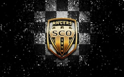 Angers FC, glitter logo, Ligue 1, white black checkered background, soccer, Angers SCO, french football club, Angers SCO logo, mosaic art, football, France