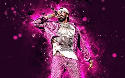 2 Chainz, 4k, american rapper, violet neon lights, music stars, creative, Tauheed Epps, Tity Boi, american celebrity, 2 Chainz 4K