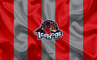 Rockford IceHogs, American Hockey Club, emblem, silk flag, red-gray silk texture, AHL, Rockford IceHogs logo, Rockford, Illinois, USA, hockey, American Hockey League