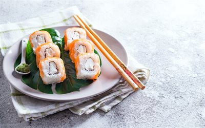 California roll, makizushi sushi roll, California maki, japanese food, sushi, rolls