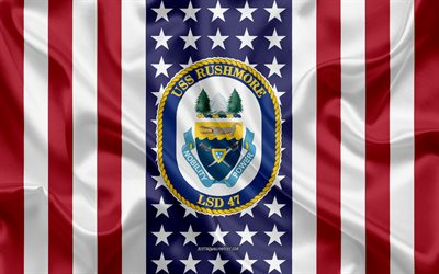 USS Rushmore Emblem, LSD-47, American Flag, US Navy, USA, USS Rushmore Badge, US warship, Emblem of the USS Rushmore