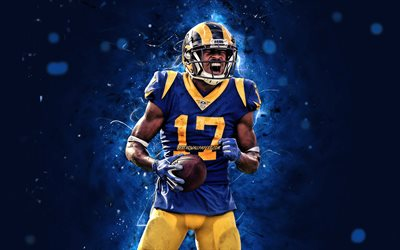 robert woods, 4k, wide receiver, der los angeles rams, american football, nfl, la rams, robert thomas wald, national football league, neon lichter, robert woods rams, robert woods 4k