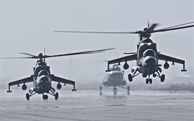 Mi-24, Russian Air Force, two helicopters, russian military helicopter, Hind, Mil Mi-24, aerodrome, Mil Helicopters, Russian Army