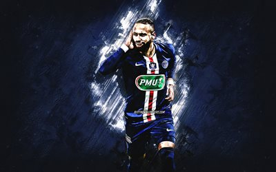 Neymar, PSG, Brazilian footballer, Paris Saint-Germain, portrait, football stars, Champions League, Neymar da Silva Santos Junior, Ligue 1, blue stone background